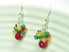 Titania Earrings - Exclusive & Handmade with Precious Gemstones - Ruby, Emerald & Yellow Sapphire