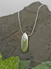 Swiss Blue Topaz Runic Cardinal Sterling Silver Necklace