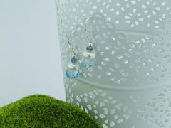 Topaz Dream Earrings - Swiss Blue & London Blue Topaz with Pearl, Sterling Silver earrings