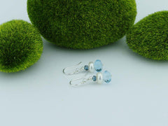 Topaz Dream Earrings - Swiss Blue & London Blue Topaz earrings with Pearl, Sterling Silver