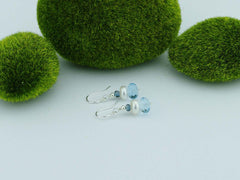 Topaz Dream Earrings - Swiss Blue & London Blue Topaz with Pearl, Sterling Silver