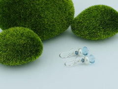 Topaz Dream Earrings - Swiss Blue and London Blue Topaz with Pearl, Sterling Silver