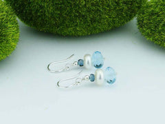 Topaz Dream Earrings - Swiss Blue & London Blue Topaz & Pearl, Sterling Silver