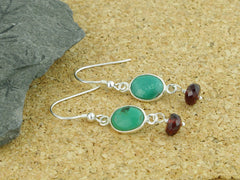 Turquoise Delight Earrings - Sterling Silver, Turquoise & Garnet