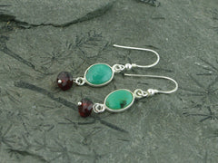Turquoise Delight Earrings - Sterling Silver, Turquoise with Garnet