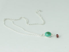 Turquoise Delight Necklace - Petite Cabochon drop of Turquoise with Garnet
