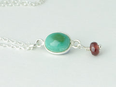 Turquoise Delight Necklace - Petite Cabochon drop of Turquoise accented with Garnet