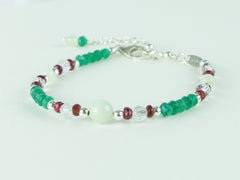 Virtue Bracelet - Jadeite, Red Spinel, Green Onyx, Sterling Silver