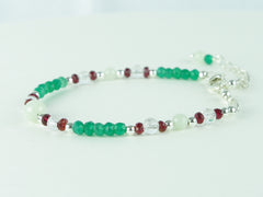 Virtue Bracelet - Jadeite, Red Spinel, Green Onyx with Sterling Silver