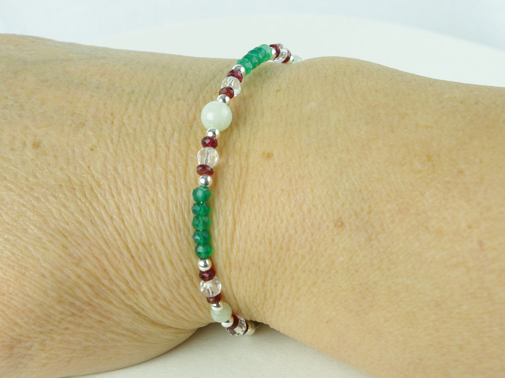 Virtue Bracelet - Jadeite, Red Spinel, Green Onyx, Sterling Silver shown worn