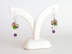 Dew Earrings - Exclusive & Handmade with Yellow Sapphire, Russian Diopside & Amethyst