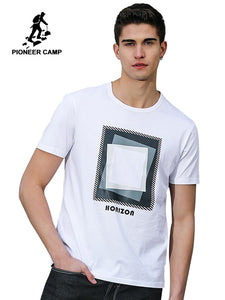 4573bc67a3c Pioneer Camp men t-shirt brand clothing 2019 summer new fashion geometry  design mens t shirt loose print tshirts male tops