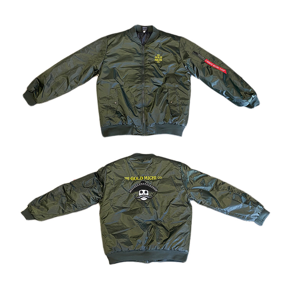 The Gold Michi Co . Military Green Bomber Jacket