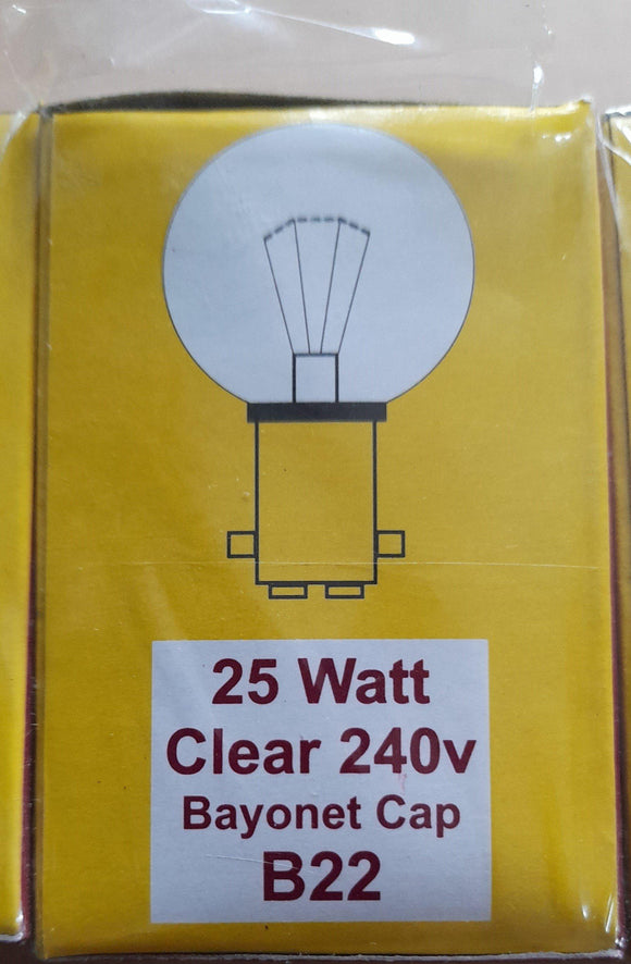 TEN GOLFBALL'S 25WATT BC / B22 CAP CLEAR