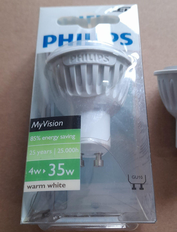 SIX X LED GU10 4WATTS WARM WHITE BY PHILIPS