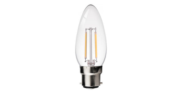 2w Filament LED Candle (BC/B22) Clear retro style - Beachcomber Lighting