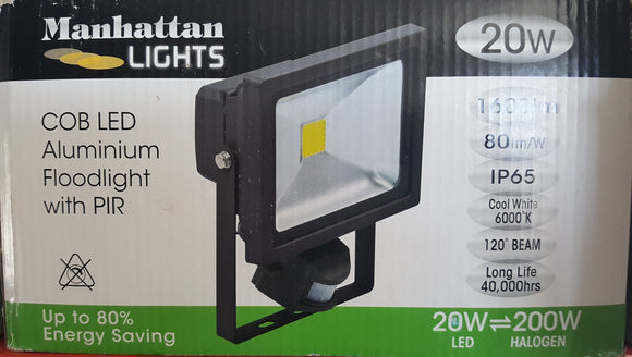 LED 20W Floodlight with PIR by Manhattan Lights - Beachcomber Lighting