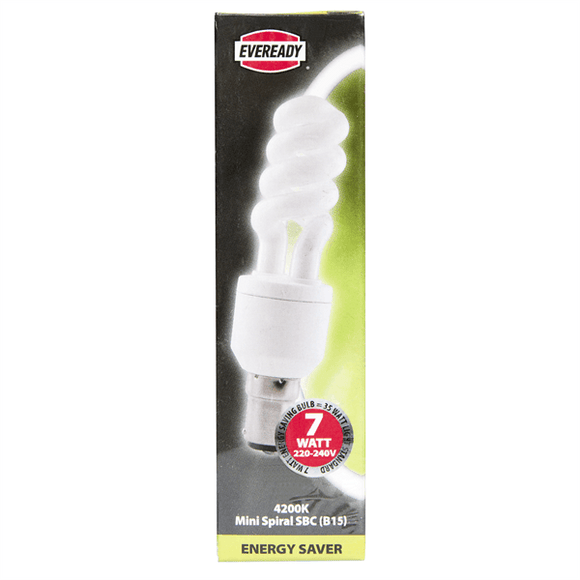 EVEREADY 7W B15 (SBC) SPIRAL COLOUR 4200K LOW ENERGY