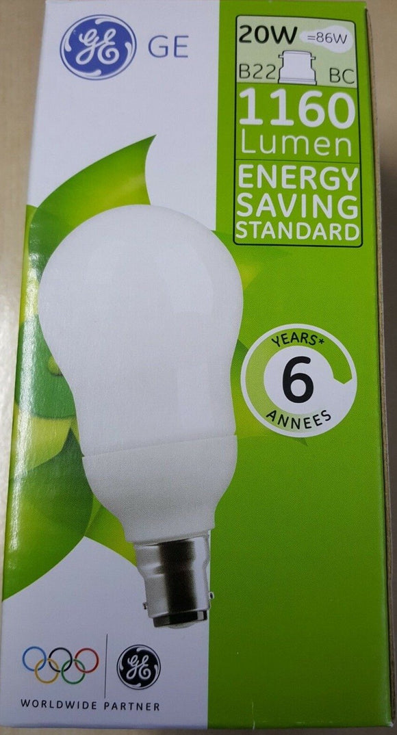 GE Energy Saving Bulbs BC (B22) or ES / E27 20W = 86W = 1160 Lumens - Beachcomber Lighting