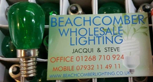 PYGMY  GREEN CLEAR Coloured 15W SES / E14 Small Edison Screw bulb Sign Lamp - Beachcomber Lighting