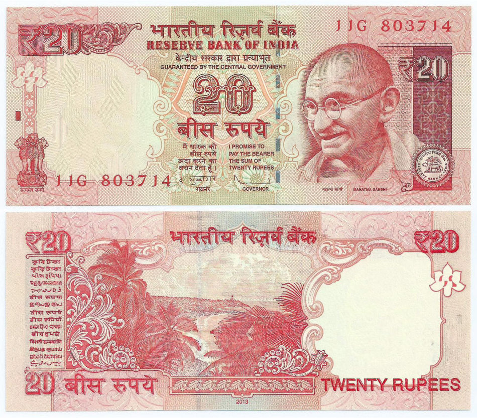 "2013 India 20 Rupees ""Mahatma Gandhi"" World Currency, Uncirculated"
