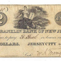 1827 $2 The Franklin Bank , Jersey City , New Jersey - Uniface - Obsolete Currency -