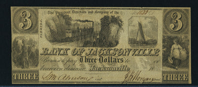 1830s (Circa) $3 Bank of Jacksonville , Florida - Unissued - Signed - Obsolete Currency -