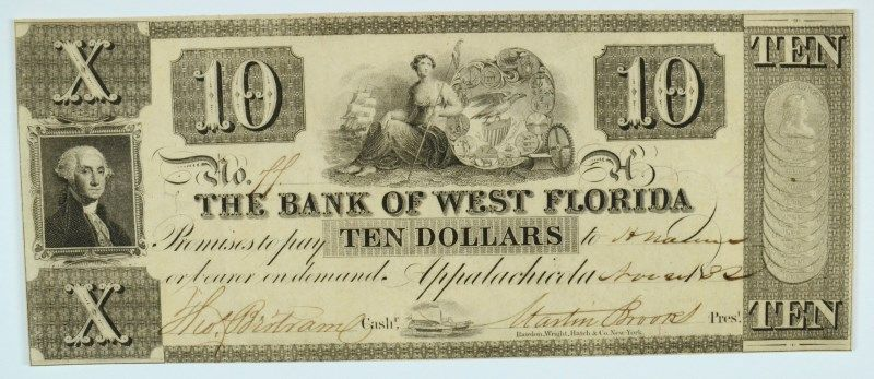 1832 $10 Bank of West Florida , Appalachicola - Obsolete Currency -