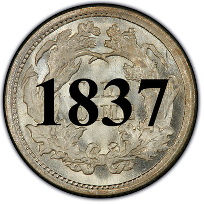 1837 Seated Half Dime , Type 1