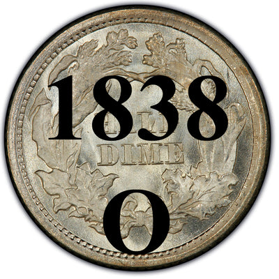 1838-O Seated Half Dime , Type 1