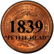 "1839 ""PETITE HEAD"" Coronet Braided Hair Large Cent"