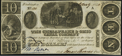 1840 $10 The Chesapeake & Ohio Canal Co. , Frederick , Maryland - Obsolete Currency -