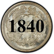 "1840 ""No Drapery"" Seated Half Dime , Type 2 ""Stars on Obverse"""