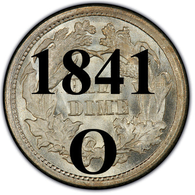 1841-O Seated Half Dime , Type 2