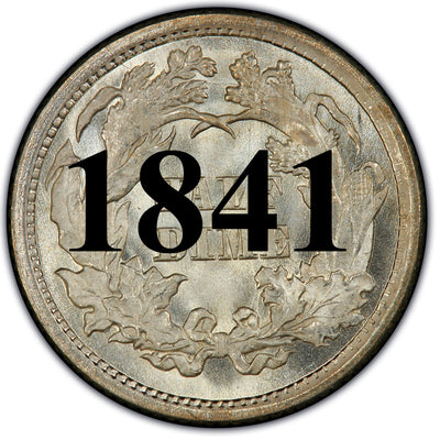 1841 Seated Half Dime , Type 2