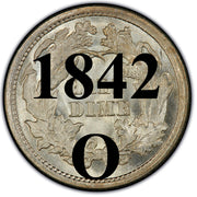 "1842-O Seated Half Dime , Type 2 ""Stars on Obverse"""