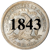 1843 Seated Liberty Dollar