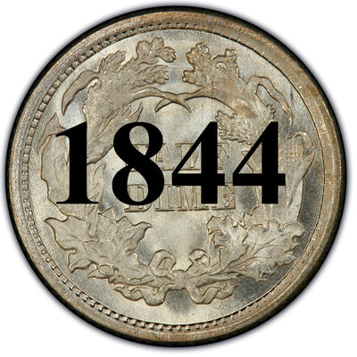 1844 Seated Half Dime , Type 2