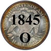 "1845-O Seated Liberty Half Dollar , Type 1 ""Obverse Stars No Motto"""