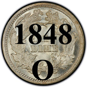 "1848-O Seated Half Dime , Type 2 ""Stars on Obverse"""