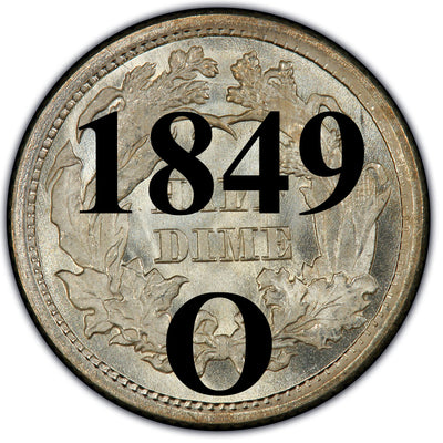 1849-O Seated Liberty Half Dimes