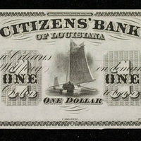 1850's $1 Citizens Bank of Louisiana - Unsigned/UnDated - Obsolete Currency -