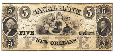 1850's (Circa) $5 Canal Bank of New Orleans , Louisiana - Unissued/Unsigned - Obsolete Currency -