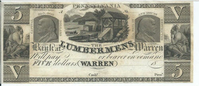 1850s (Circa) $5 Lumberman;s Bank , Warren , Pensylvania -Unsigned - Obsolete Currency -