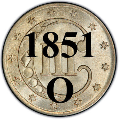 1851-O Three Cent Silver Piece , Type 1
