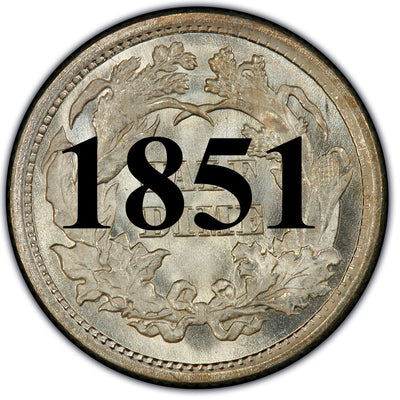 1851 Seated Half Dime , Type 2