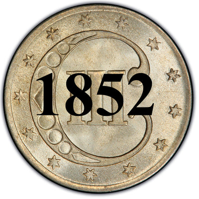 1852 Three Cent Silver Piece , Type 1
