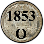 "1853-O ""No Arrows"" Seated Half Dime , Type 2 ""Stars on Obverse"""