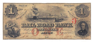 1853 $1 The Erie and Kalamazoo Rail Road Bank , Adrian Michigan - Uniface - Obsolete Currency -