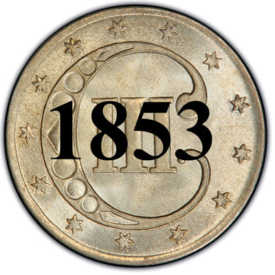 1853 Three Cent Silver Piece , Type 1